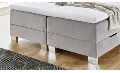 Boxspringbett Riverside BX1700 Bett Stoff grau mit Bettkasten und Topper 140x200
