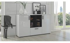 Sideboard Flexi Kommode Anrichte für Wohnzimmer weiß Hochglanz und schwarz matt