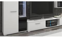 Wohnwand Salsas Anbauwand Wohnkombi Wohnzimmer in weiß matt und schwarz 235 cm