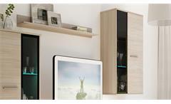 Wohnwand Salsas Anbauwand Wohnkombi Wohnzimmer Sonoma Eiche matt und schwarz 235