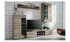 Wohnwand Tangos Anbauwand Wohnkombi Wohnzimmer Set in Eiche San Remo 235 cm