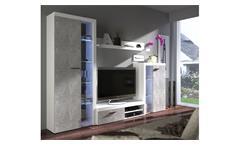 Wohnwand Rumba Anbauwand Wohnzimmer Wohnkombi in weiß und Beton hell 270 cm