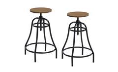 Barhocker 2er Set Bambus Sitz Stahl Gestell Industrial Design