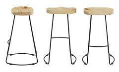 Barhocker Industrial Design Barstuhl 2er Set Kiefer Holz Sitz Metall Gestell