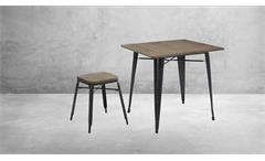 Hocker Holz Metall stapelbar Bistrohocker 2er Set Industrie Design Stahl Bambus