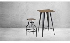 Barhocker 2er Set Hocker höhenverstellbar Industrial Design Bambus Holz Stahl