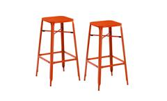 Barhocker 2er Set Industrial Design Metall orange Industrie