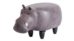 Tierhocker Hippo grau Nilpferd Kinderhocker Massivholz schwarz Flusspferd