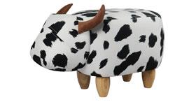 Kinderhocker Kuh Tierhocker schwarz weiß Massivholz Kinderzimmer Sitzhocker