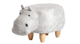 Tierhocker Nilpferd weiß Holz natur Hippo Kinderhocker Sitzhocker Kinderzimmer