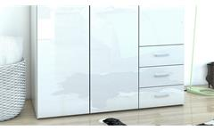 Kleiderschrank Suros Schrank weiß Hochglanz 3 Türen 3 Schubkästen Höhe 200 cm