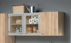Küche Cassy Küchenzeile Küchenblock komplett in Eiche Struktur und Glas 5-teilig