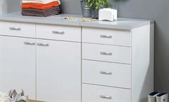 Küche Cassy Küchenzeile Küchenblock komplett in weiß und Glas 5-teilig