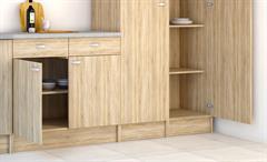 Küche Cassy Küchenzeile Küchenblock komplett Eiche Struktur mit Spüle 8-teilig