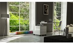 Schreibtisch 150 Z-Line TV-Rack in weiß mit Metallrahmen und Sicherheitsglas