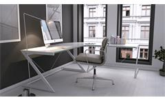 Schreibtisch Bürotisch Arbeitstisch weiß Sicherheitsglas Metall Optiwhite 150 Z-Line