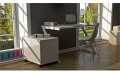 Schreibtisch 100 Z-Line TV-Rack in weiß mit Metallrahmen und Sicherheitsglas