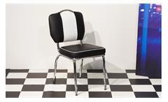 Bistrostuhl Elvis 4x Stuhl American Diner 50er Jahre Retro schwarz weiß Chrom