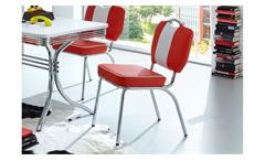 Bistrostuhl ELVIS 4er Set Stuhl rot Chrom 50er Jahre American Diner