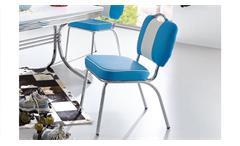 Bistrostuhl ELVIS 2er Set Stuhl blau Chrom 50er Jahre American Diner