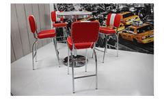 Barstuhl Elvis 4er Set Barhocker American Diner 50er Jahre Retro rot weiß Chrom