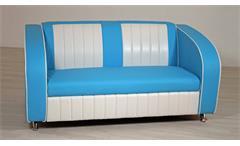 Sofabank ELVIS Polstersofa in blau weiß American Diner 50er Jahre
