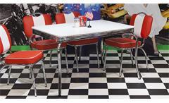 Esstisch ELVIS Bistrotisch Edelstahl weiß 120x80 Retro American Diner