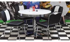 Esstisch Elvis Tisch Bistrotisch Edelstahl weiß Ø 100 American Diner 50er Jahre