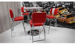 Bartisch Elvis Bistrotisch Stehtisch Edelstahl weiß American Diner 50er Jahre