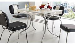 Esstisch Elvis Tisch Bistrotisch Retro American Diner 50er Jahre Edelstahl und weiß