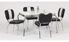 Essgruppe Elvis 2 Tischgruppe 50er Jahre American Diner Edelstahl weiß schwarz