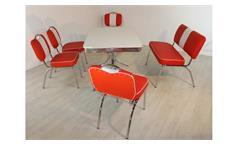 Essgruppe ELVIS 4 Tischgruppe American Diner 50er Jahre Edelstahl rot