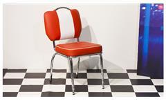 Essgruppe Elvis 4 Tischgruppe American Diner 50er Jahre Retro Edelstahl weiß rot