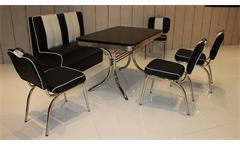 Essgruppe ELVIS 5 Tischgruppe Edelstahl schwarz American Diner 50er Jahre