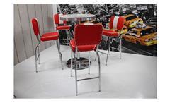 Barset ELVIS Bargruppe Bartisch American Diner Edelstahl rot