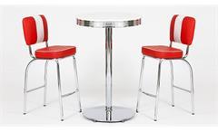 Barset Elvis Bargruppe Tischgruppe American Diner 50er Jahre Edelstahl weiß rot