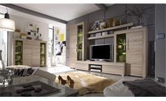 Wohnwand Boom Anbauwand Wohnzimmer Sonoma Eiche sägerau inkl. Beleuchtung