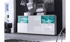 Wohnwand Punch Anbauwand Wohnzimmer in weiß Glanz mit LED RGB Beleuchtung