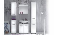 Badschrank Skin Badezimmer Hochschrank 101 mit Front in weiß hochglanz