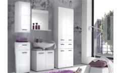 Badschrank Skin Badezimmer Hochschrank 105 mit Front in weiß hochglanz 4-türig