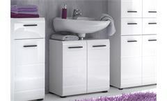 Bad Waschbeckenunterschrank Skin Badezimmer mit Front in weiß hochglanz