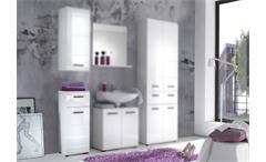 Bad Kommode Skin Badezimmer Schrank mit Front in weiß hochglanz, 1-türig