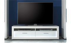 TV Board 1 Starlight Lowboard weiß Hochglanz Tiefzieh Rillenoptik inkl. LED