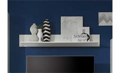Wandboard 1 Starlight Wandregal Regal Hängeboard weiß mit 1 Holzboden 150 cm