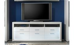TV Board 2 Starlight Lowboard weiß Hochglanz Tiefzieh Rillenoptik inkl. LED