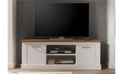 TV Board Toronto Lowboard Unterteil Anderson Pinie hell weiß und Satin Nussbaum