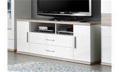 TV Board 1 ARENA in weiß Hochglanz und Eiche sägerau