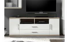 TV Board 2 ARENA in weiß Hochglanz und Eiche sägerau