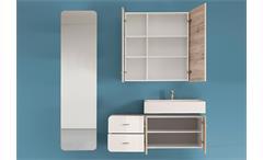 Spiegel Retro Badmöbel Badezimmer in weiß mit Stauraum 45x176 cm