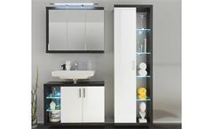 Spiegelschrank Sunrise Badmöbel Badezimmer in Sardegna Rauchsilber und weiß